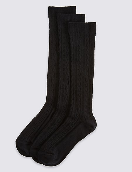 3 Pairs of Cable Knit Knee High Socks (3-14 Years)
