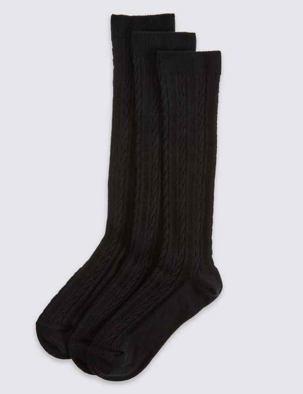 e387bcae70 3 Pairs of Cable Knit Knee High Socks