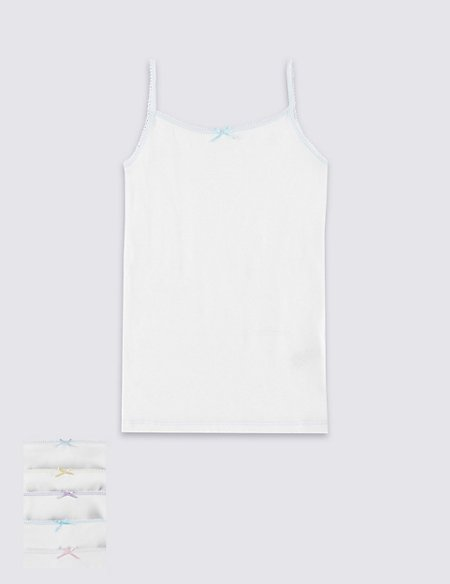 5 Pack Pure Cotton Camisole Vests (18 Months - 16 Years)