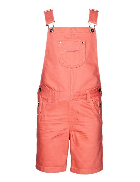 Pure Cotton Crinkled Dungaree Shorts (1-7 Years)