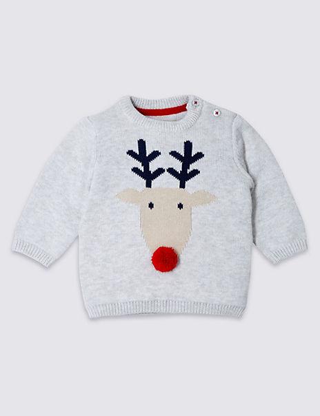 Pure Cotton Christmas Reindeer Jumper
