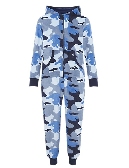Hooded Camouflage Fleece Onesie with StayNEW™