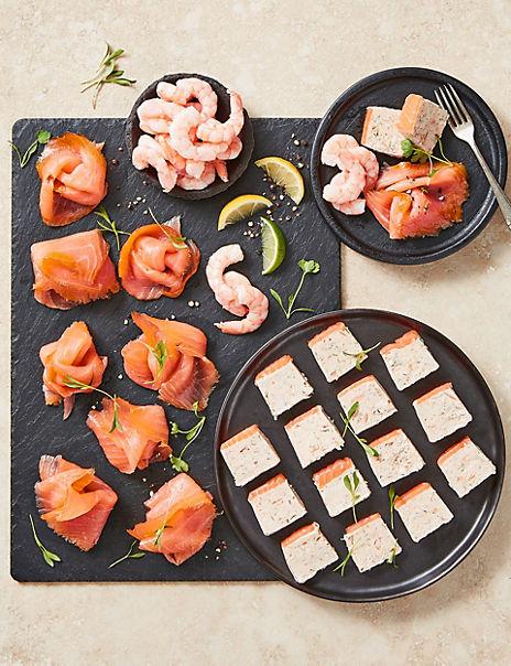 Smoked Scottish Salmon Terrine, Salmon Platter &HonduranPrawns(Serves 8)