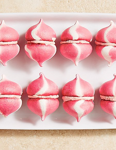 Mini Strawberry Cream Meringues (12 Pieces)