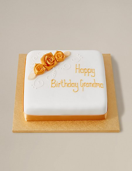 Personalised Classic Golden Rose All Butter Sponge Cake (Serves 30)