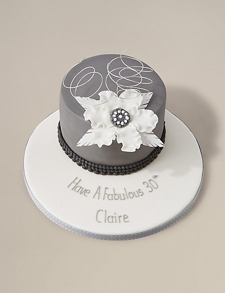 Personalised Vintage Grey Cake (Serves 16) - Last day to Collect 7th February