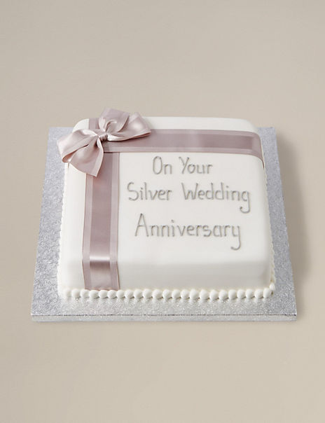Personalised Celebration Chocolate Cake with Silver Ribbon (Serves 30)