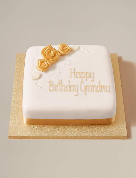 Personalised Classic Golden Rose Fruit Cake (Serves 44)