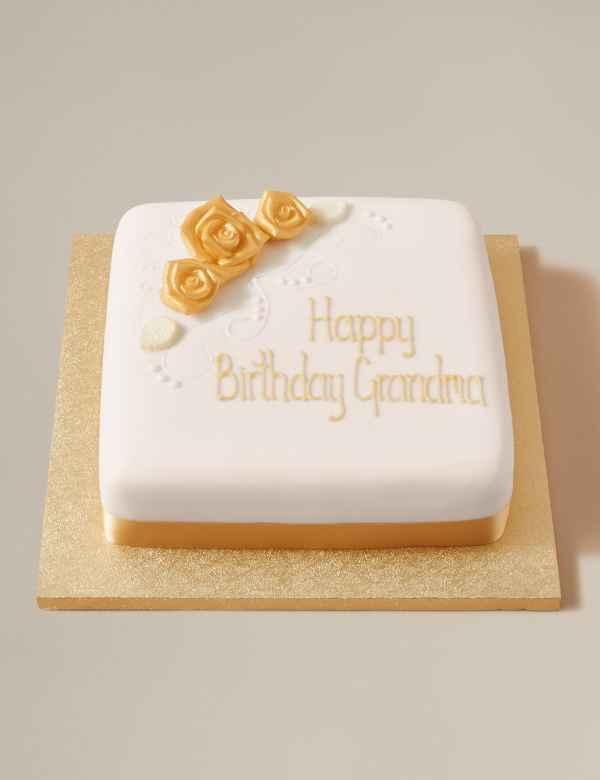 Personalised Classic Golden Rose Fruit Cake Serves 44