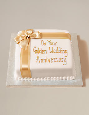 Personalised Celebration Chocolate Cake with Golden Ribbon (Serves 30)