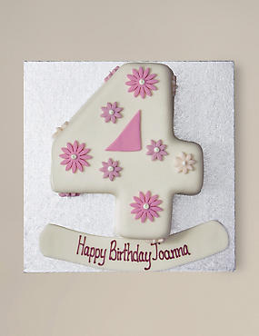 Personalised Flowers Number Sponge Cake - Single Digit (Serves 20)