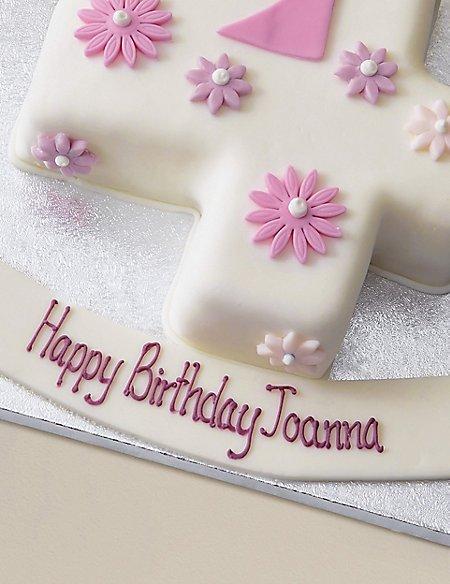 Personalised Flowers Number Sponge Cake - Single Digit (Serves 20)