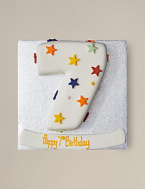 Personalised Stars Number Chocolate Cake - Single Digit (Serves 20)