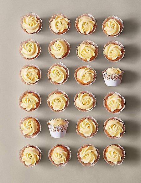 Mini Rose Vanilla Cupcakes (Serves 54)