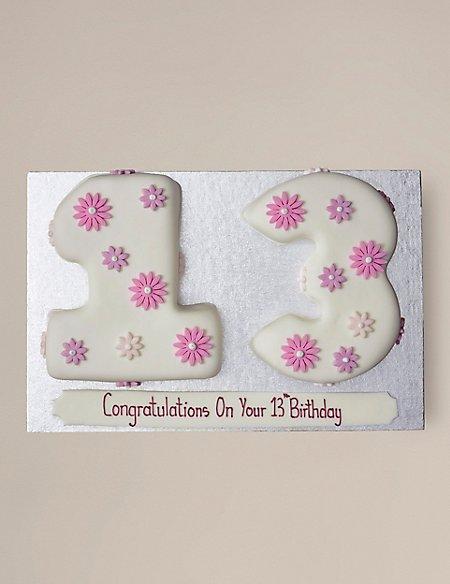 Personalised Flowers Numbers Sponge Cake - Double Digit (Serves 40)