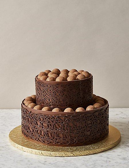 A Salted Caramel Chocolate Truffle Wedding Cake Serves