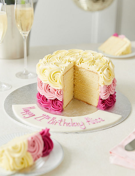 Personalised Piped Rose Sponge Cake (Serves 24)