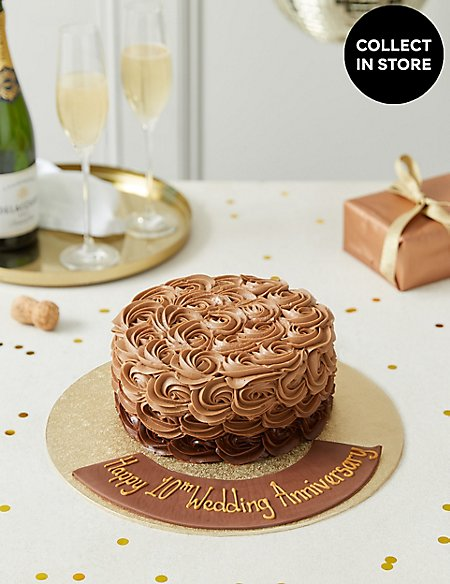Personalised Shimmering Chocolate Piped Rose Cake Serves