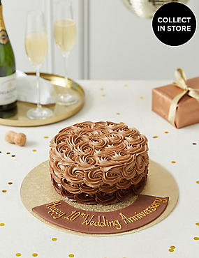 Personalised Shimmering Chocolate Piped Rose Cake Serves 20