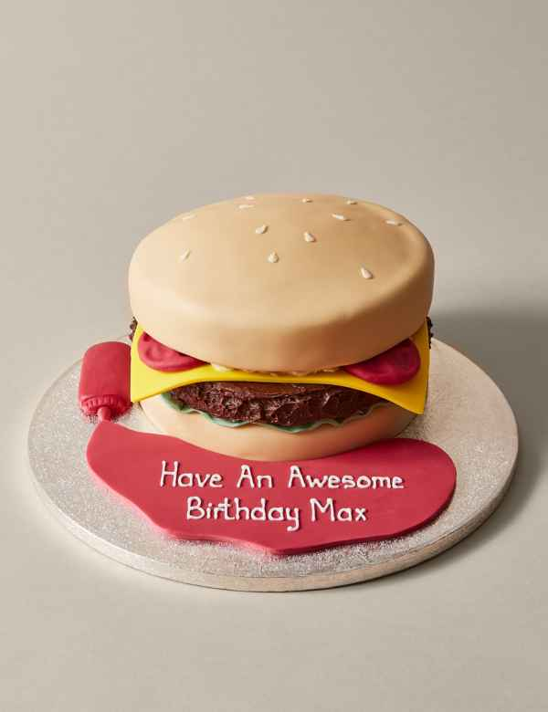 Peachy Personalised Brilliant Burger Cake Serves 30 Ms Funny Birthday Cards Online Inifofree Goldxyz