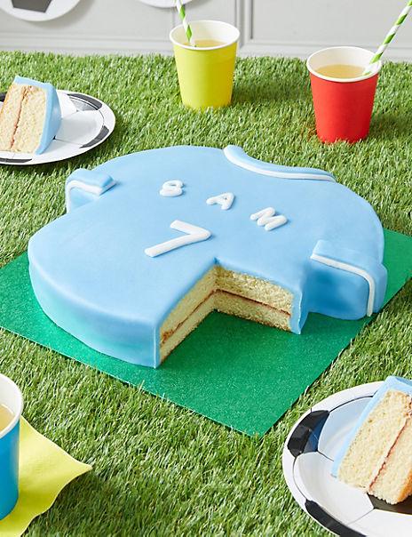 Personalised Blue & White Sports Shirt Cake (Serves 30)