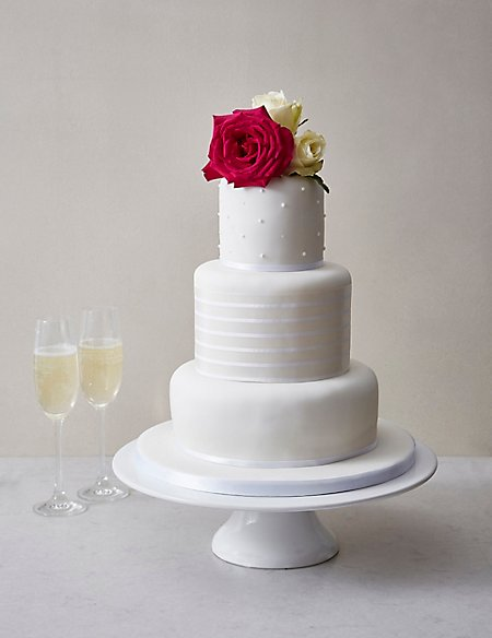 White Vogue Wedding Cake Orted Flavours Serves 100