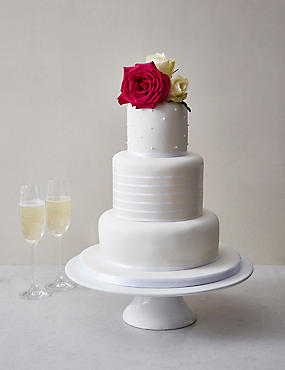 White Vogue Wedding Cake - Assorted Flavours (Serves 100)