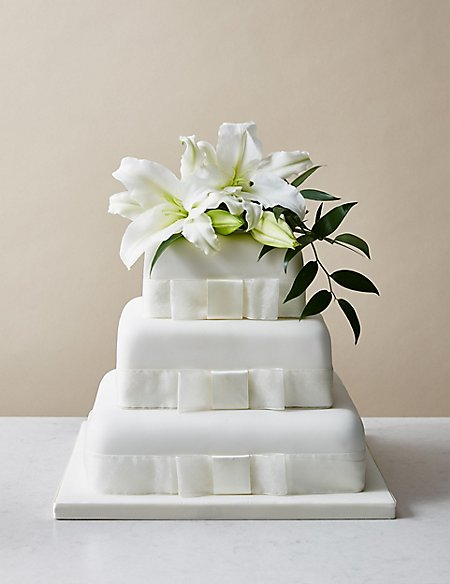 Charming 3 Tier Elegant Wedding Cake (Serves 180 190)