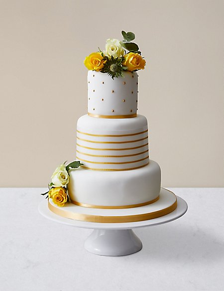Gold Vogue Wedding Cake - Assorted Flavours (Serves 100)