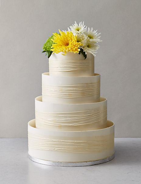 Shimmering Hoop Chocolate Wedding Cake - White & Gold (Serves 110)