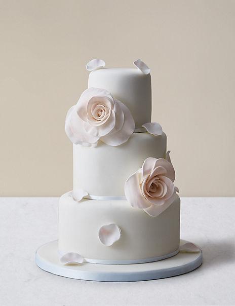 Blushing Rose Wedding Cake – Buttercream Sponge (Serves 95)