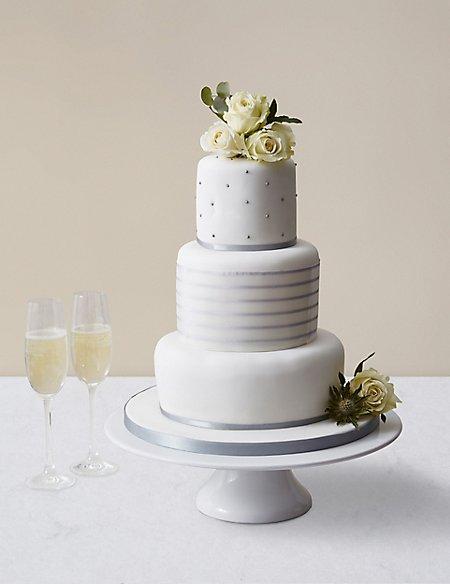 Silver Vogue Wedding Cake - Assorted Flavours (Serves 100)