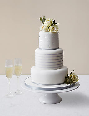 Silver Vogue Wedding Cake - Assorted Flavours (Serves 100)