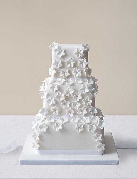 Cascading White Blossom Wedding Cake (Serves 100)