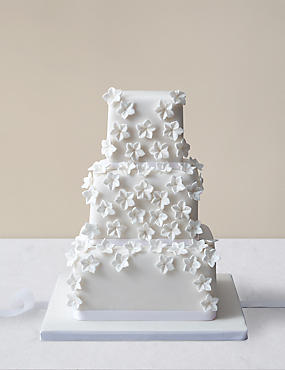 Cascading White Blossom Wedding Cake (Serves 100)