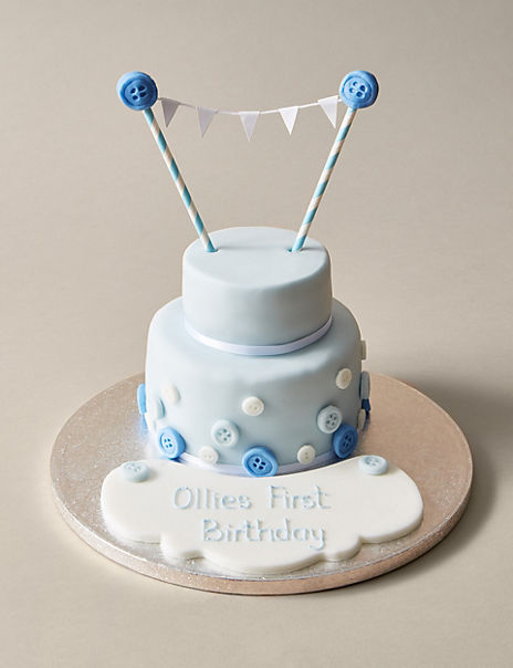 Personalised Button & Bunting Cake in Blue & White (Serves 20)