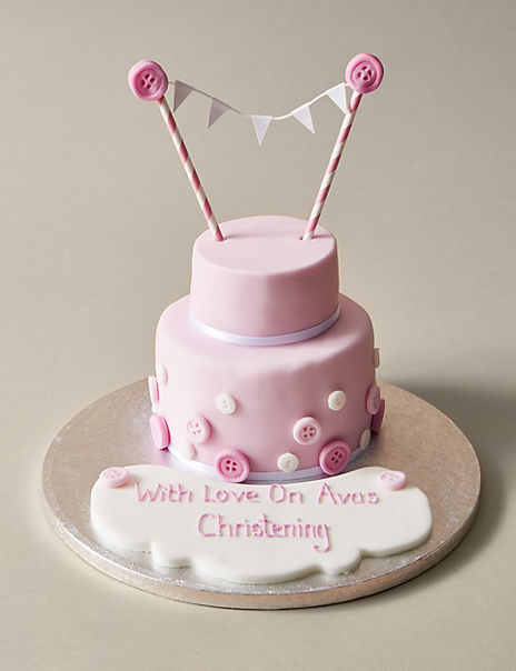 Personalised Button & Bunting Cake in Pink & White (Serves 20)