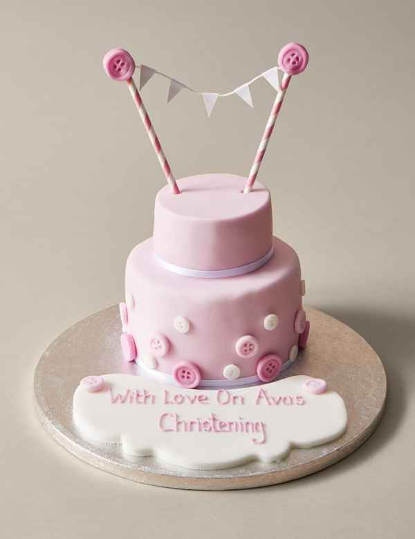 Personalised Button Bunting Cake In Pink White Serves