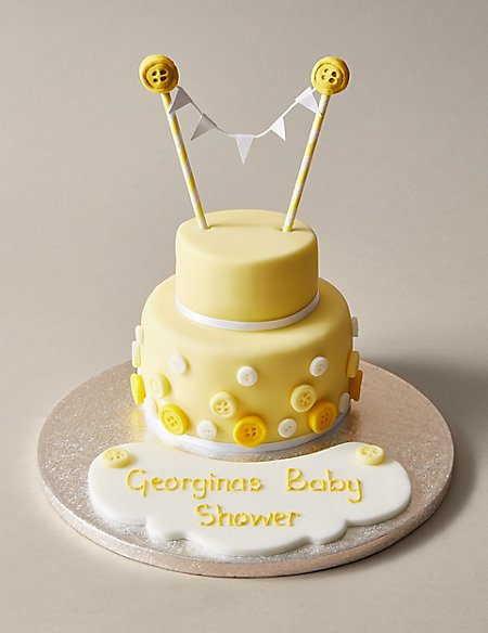 Personalised Button & Bunting Cake in Yellow & White (Serves 20)