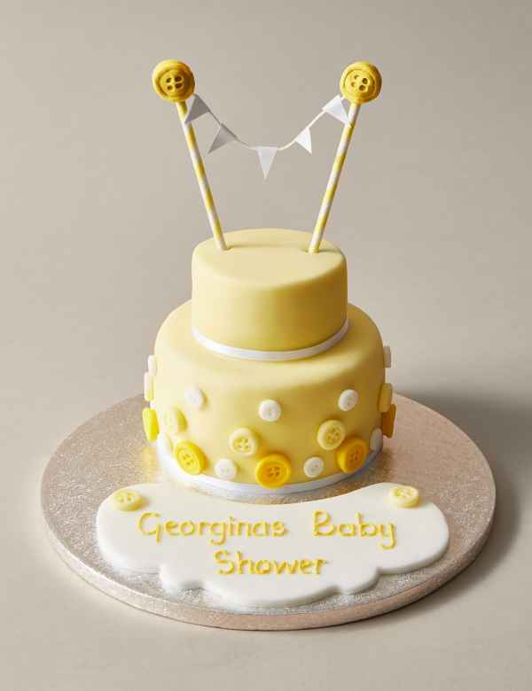Personalised Button Bunting Cake In Yellow White Serves