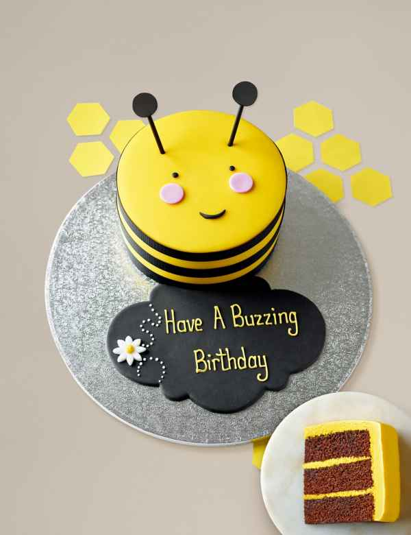 Personalised Stripe The Bumblebee Cake Serves 16