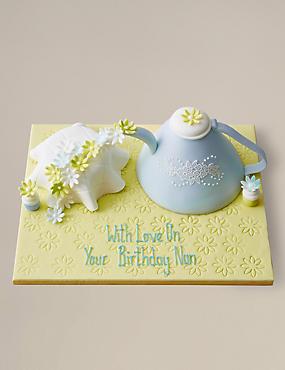 Personalised Tumbling Teatime Teapot Cake (Serves 14)