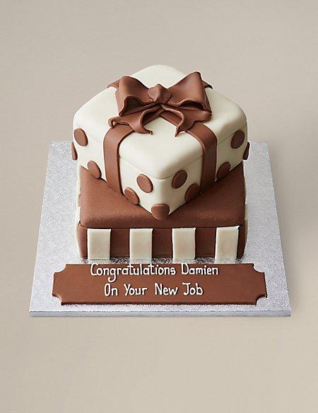 Personalised White & Milk Chocolate Present Stack Cake (Serves 56)