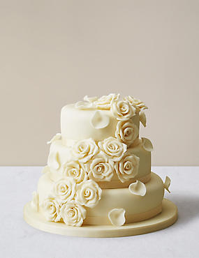 Chocolate Rose Wedding Cake With White Icing Ercream Sponge Serves 140