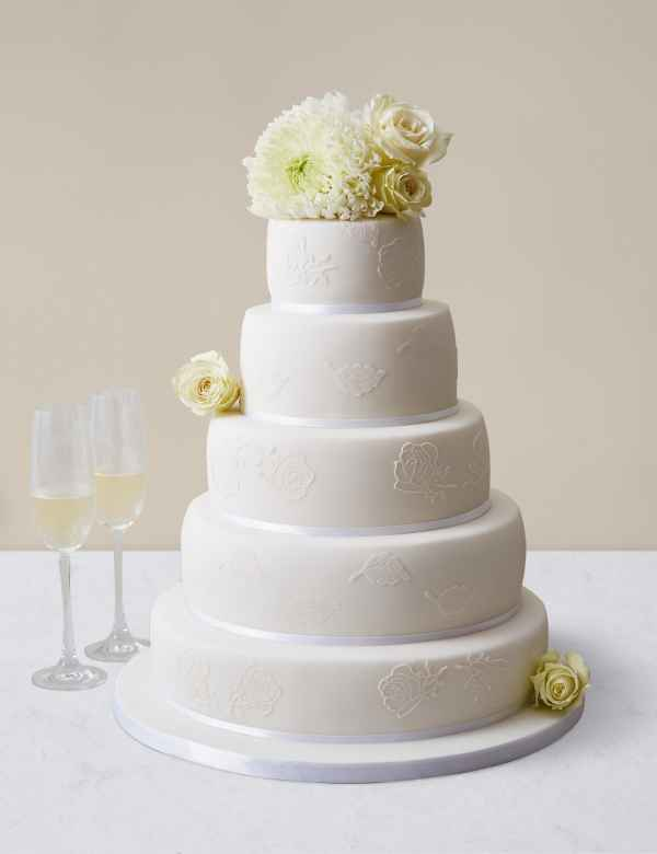 Embroidered Lace Wedding Cake Assorted Flavours Serves 150