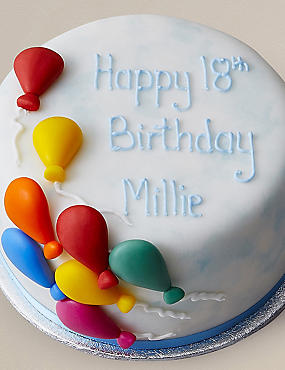 Personalised Balloon Celebration Cake (Serves 14)