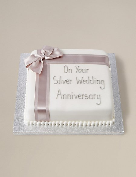 Personalised Celebration Fruit Cake with Silver Ribbon (Serves 44)