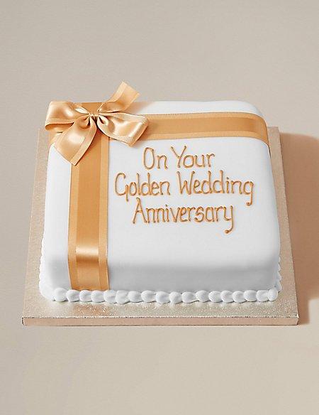 Personalised Celebration Fruit Cake with Gold Ribbon (Serves 44)