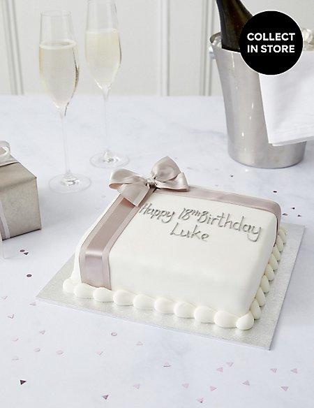 Personalised Celebration Sponge Cake with Silver Ribbon (Serves 30)