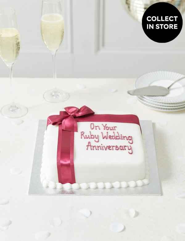 Personalised Celebration Sponge Cake With Burgundy Ribbon Serves 30
